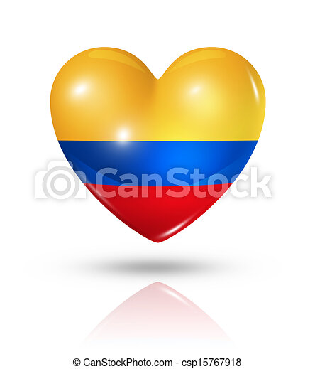 Love Colombia, heart flag icon - csp15767918