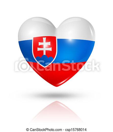 Love Slovakia, heart flag icon - csp15768014