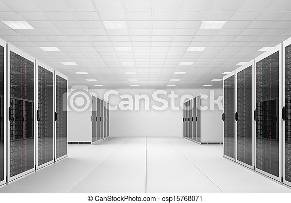 Data centre with two rows of racks - csp15768071