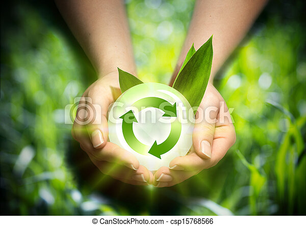 Energie, erneuerbar, Hände - csp15768566