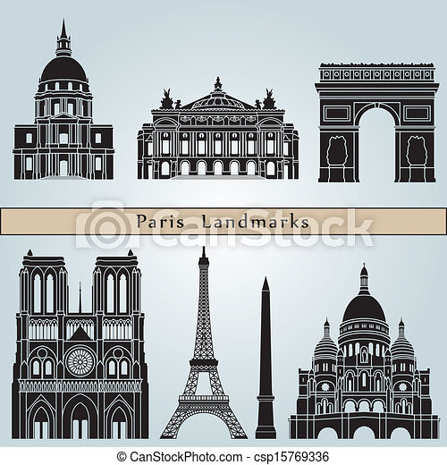 Paris landmarks and monuments - csp15769336