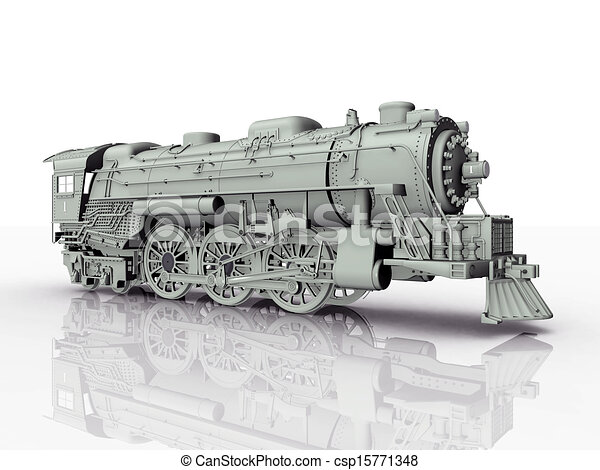 Drawing Of Old Steam Locomotive Computer Generated 3d
