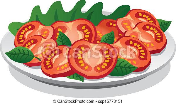 Vecteur clipart de tomate frais salade frais tomate salade csp15773151 recherchez des - Tomate dessin ...