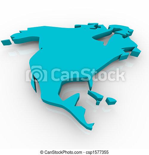 Map of North America - Blue - csp1577355