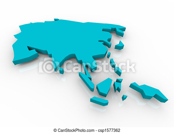 Map of Asia - Blue - csp1577362