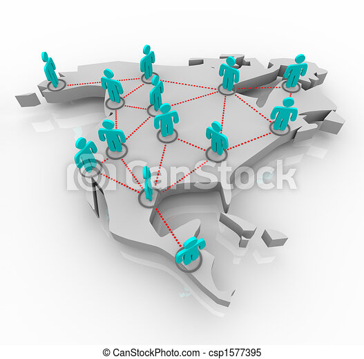 North America - Network of People - csp1577395
