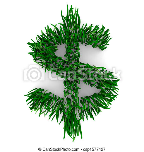 Grassy Dollar Sign - csp1577427