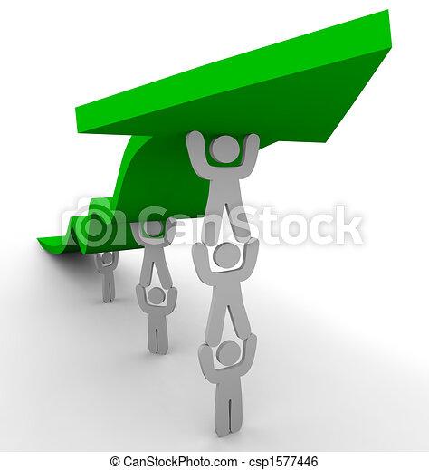 Many Pushing Up Green Arrow - csp1577446