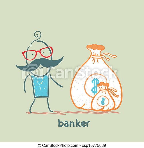 Vector of banker with a sack of money csp15775089 - Search ...