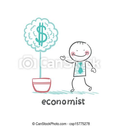 vectors illustration of economist grow a money tree
