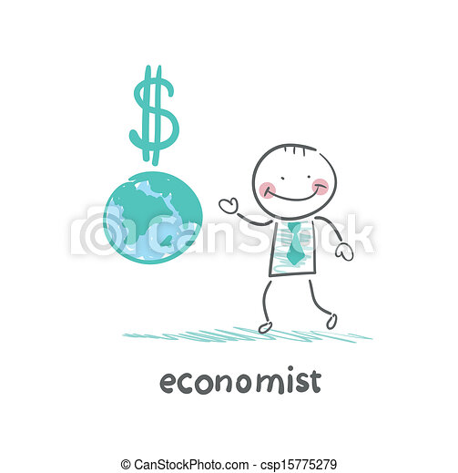 vectors illustration of economist is close to the planet