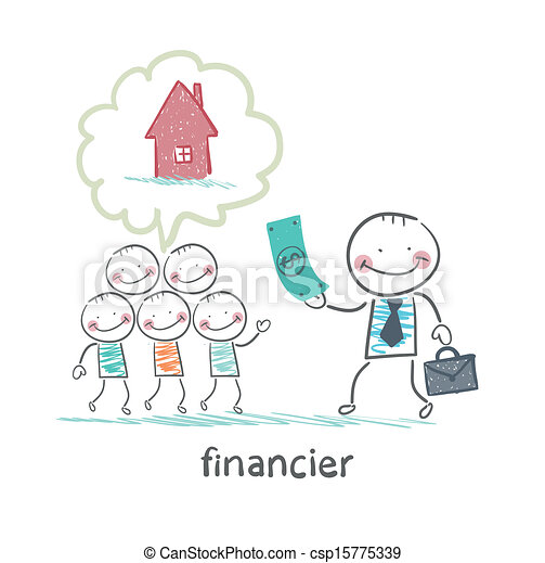 Vectors of financier gives money to people to build a for Free money to build a house