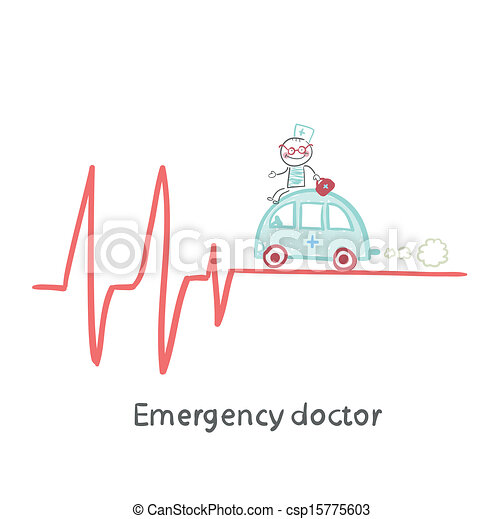 Vector - Emergency doctor traveling by car on ECG - stock illustration ...