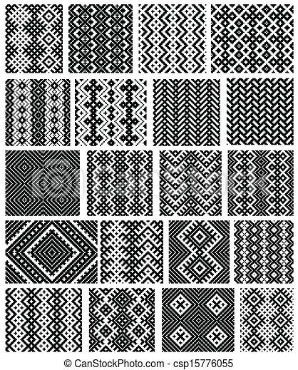 Set of 20 monochrome elegant seamless patterns - csp15776055