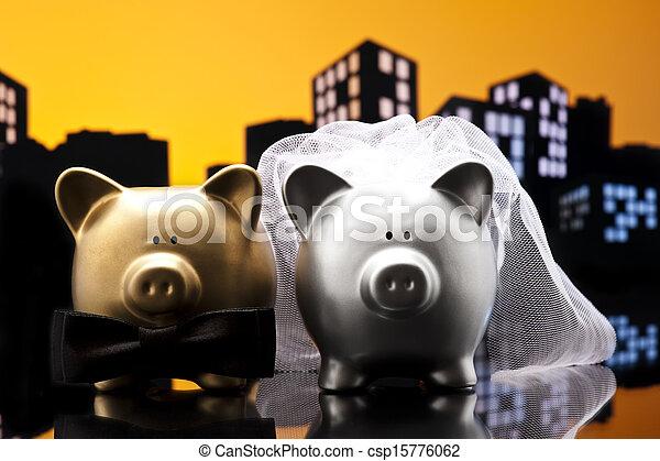 Metropolis City pig wedding the piggy bank with veil and bow tie - csp15776062