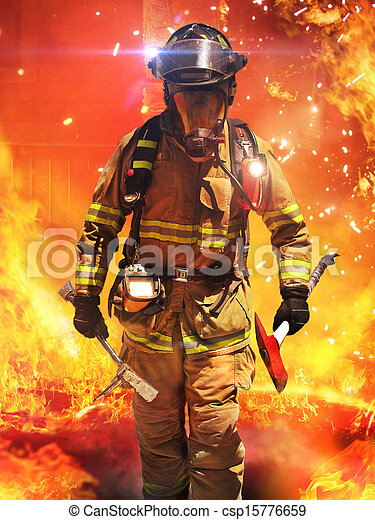 Firefighter searches for possible s - csp15776659