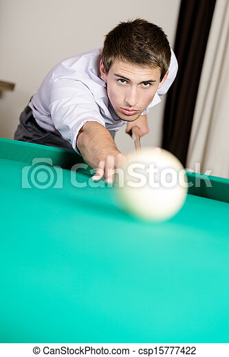 Man playing billiards at gambling house - csp15777422