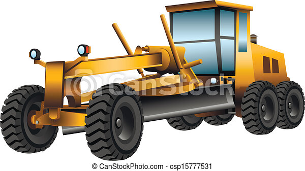 Vectors Of Grader Yellow Grader With A Shovel On A White