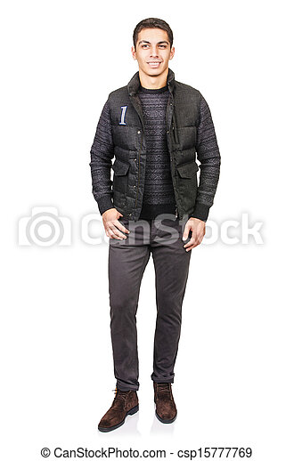 Man in fashion look isolated on white - csp15777769
