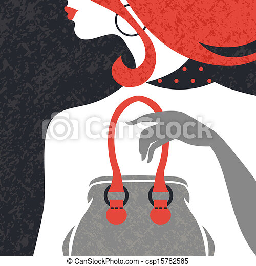 Beautiful fashion woman silhouette. Flat design - csp15782585