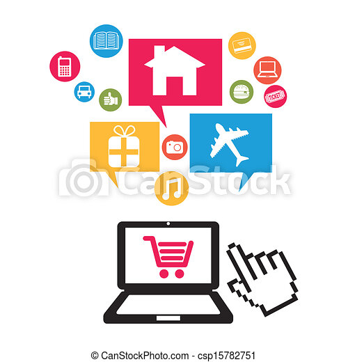 Clipart Vector of ecommerce design over white background ...