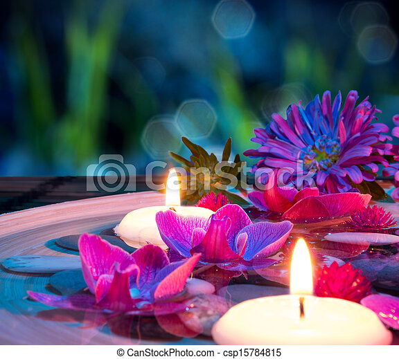 dish spa with 2 floating candles - csp15784815