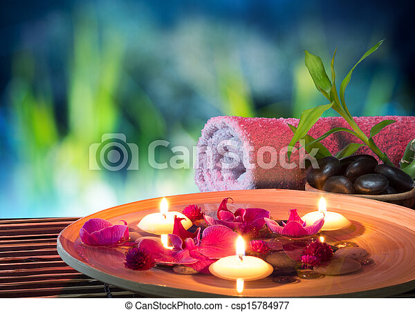 dish spa with floating candles - csp15784977