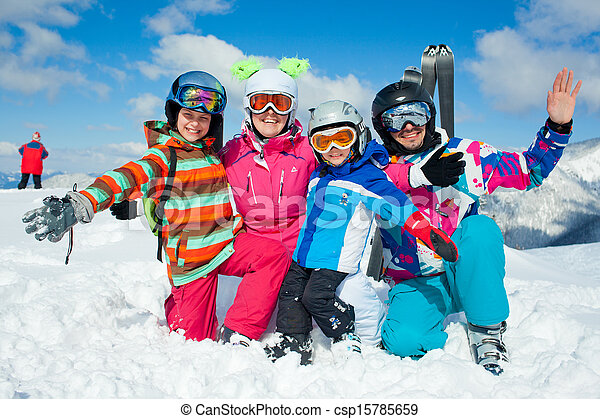 Skiing  winter fun. Happy family - csp15785659