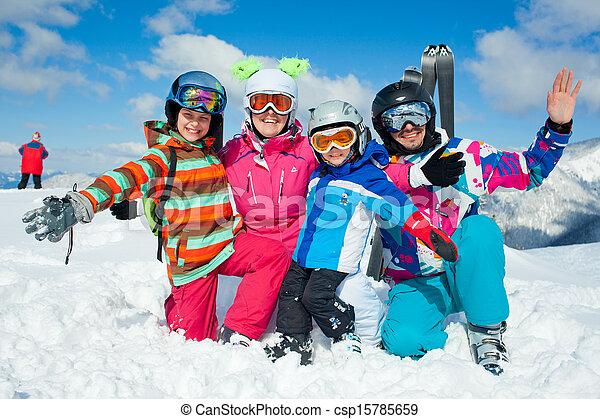 Skiing  winter fun. Happy family - csp15785659