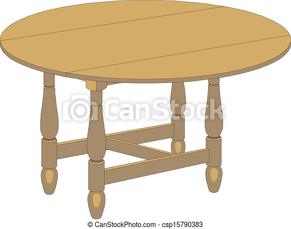 Clip Art Vector of wooden round table isolated on white