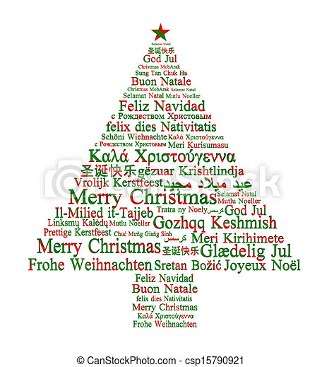 Merry Christmas in different languages forming a Christmas tree  - csp15790921