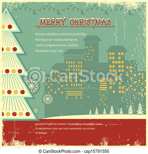Retro christmas card.Vector city in holiday on old background for text - csp15791550