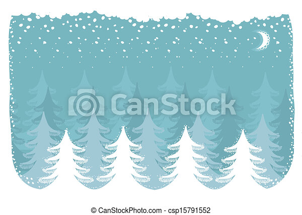 Winter snow forest.Vector christmas nature background  - csp15791552