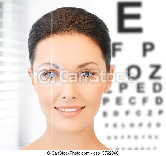 woman and eye chart - csp15792366