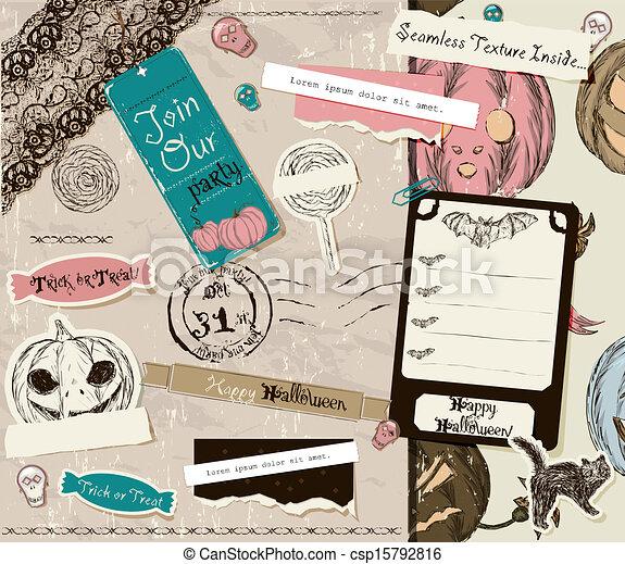 Vintage Halloween scrapbooking set. - csp15792816