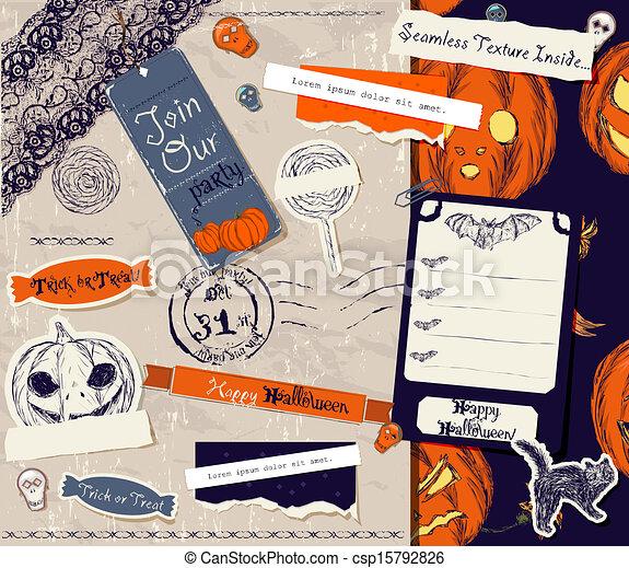 Vintage Halloween scrapbooking set. - csp15792826