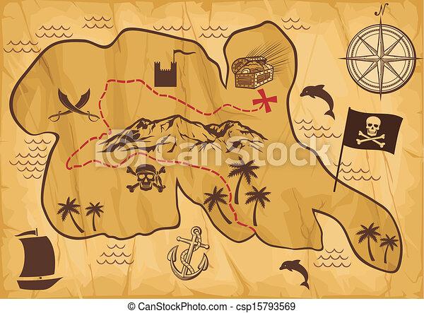 Clip Art Vector of map of treasure island (treasure map, antique ...