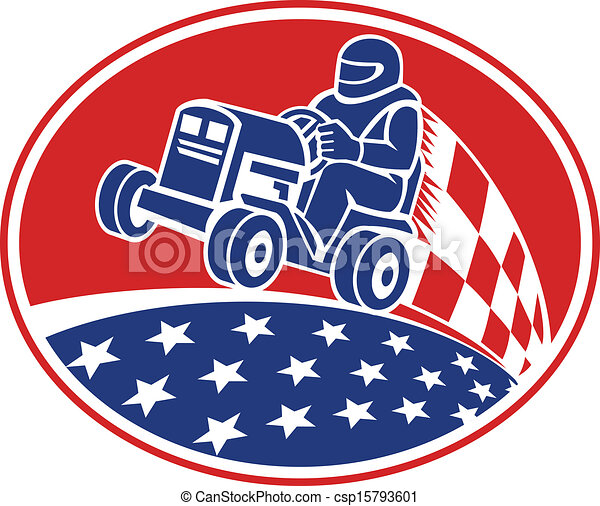 Vector Clipart Of Ride On Lawn Mower Racing Retro