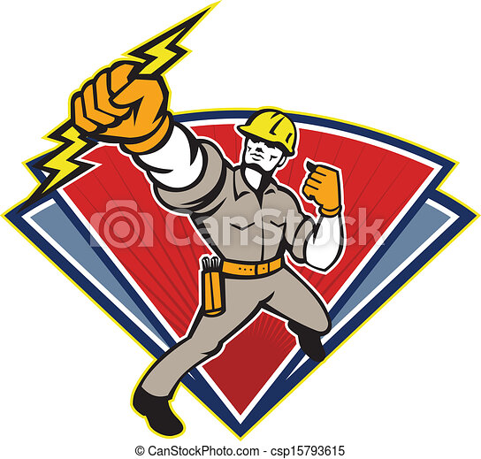 Electrician Punching Lightning Bolt - csp15793615