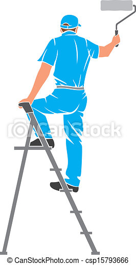 man painting the wall  - csp15793666