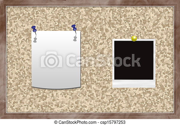 Cork board with note and photo card.