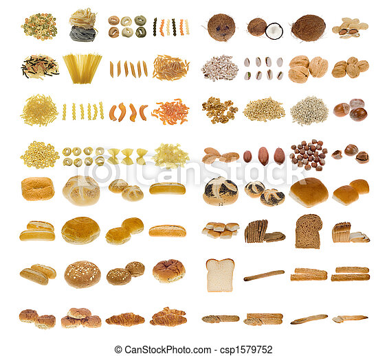 pasta, bread and nuts - csp1579752