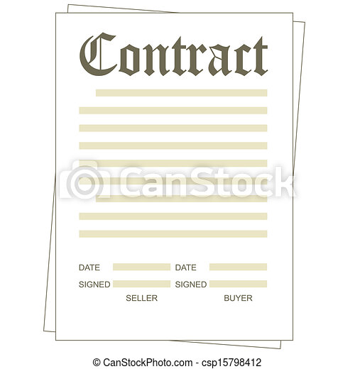 Vector Clip Art of Contract Illustration of the paper blank – Blank Contract