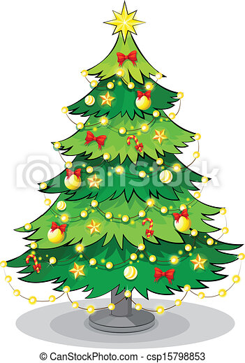 A green christmas tree with sparkling lights - csp15798853