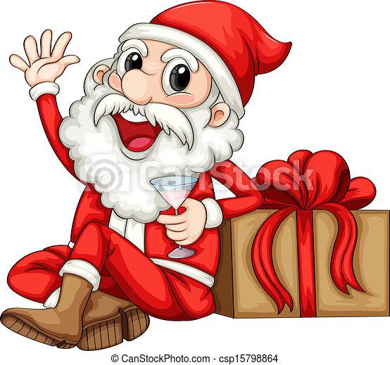 Clip Art Vector Of Santa Sitting Beside A Gift