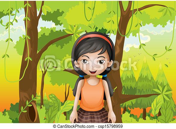 vecteur clipart de a mignon girl for t orange sando illustration csp15798959. Black Bedroom Furniture Sets. Home Design Ideas