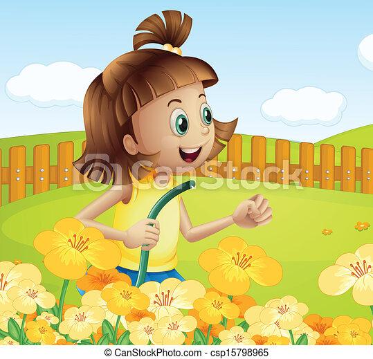 Clip Arte Vetor De Plantas Menina Aguando Jardim