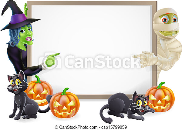 Mummy and Witch Halloween Sign - csp15799059