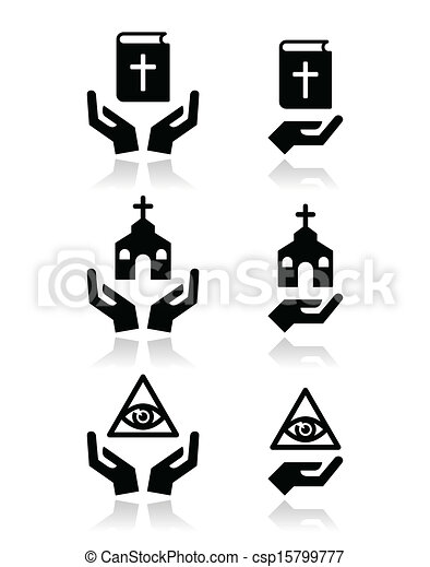Religion icons - hands with bible,  - csp15799777