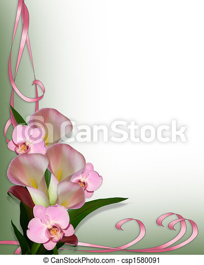 Calla Lilies and orchids border - csp1580091
